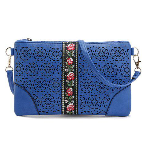Cut Out Floral PU Leather Crossbody Bag - BLUE