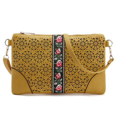 Cut Out Floral PU Leather Crossbody Bag - YELLOW