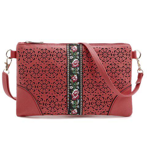Cut Out Floral PU Leather Crossbody Bag - RED