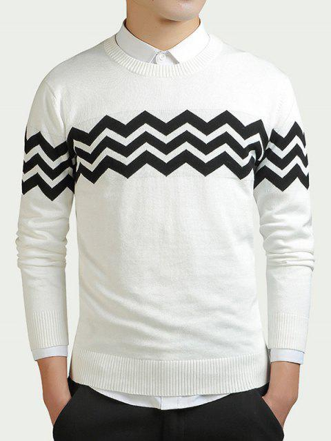 efb094c7858b 17% OFF  2019 Wave Striped Color Block Long Sleeve Sweater In WHITE ...