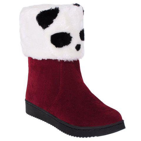 Flock Color Block Panda Pattern Snow Boots - DEEP RED 40