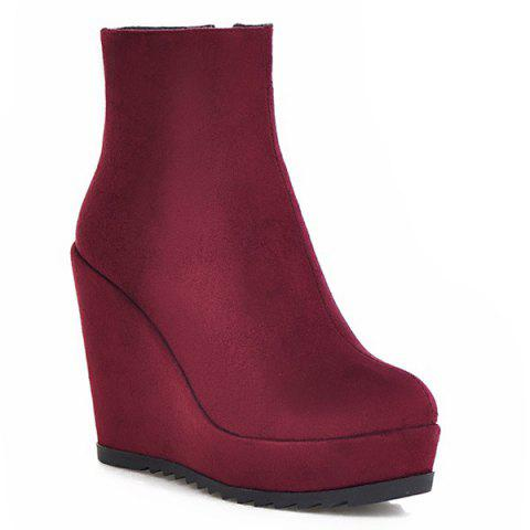 Zipper Platform Suede Ankle Boots - WINE RED 38