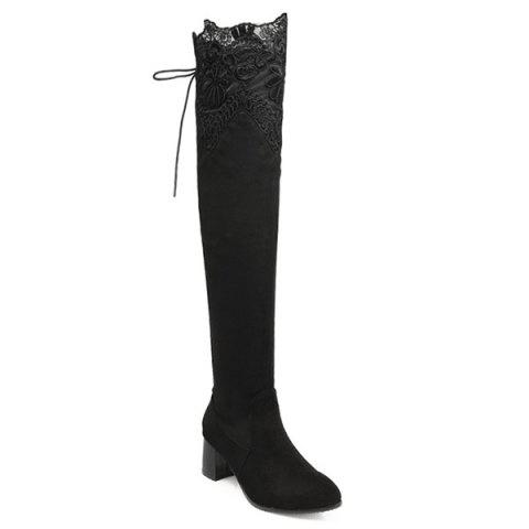 Chunky Heel Pointed Toe Lace Spliced Thigh Boots - BLACK 37