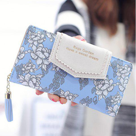 Tassels Floral Print Long Wallet - BLUE