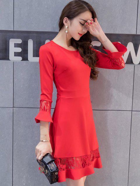 Lace Spliced Bell Sleeves Flare Dress - RED M