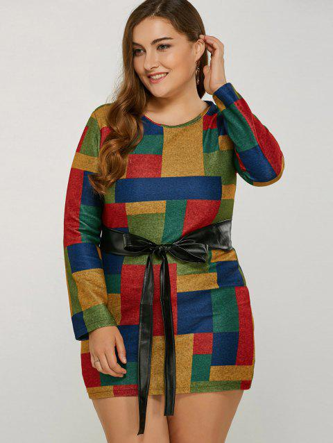 Long Sleeve Belted Color Block Dress - GREEN S