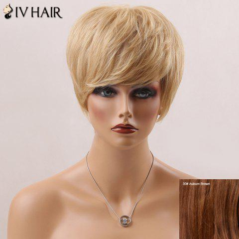 Court Fluffy Straight Side Bang Handsome Siv perruque de cheveux humains - Brun Auburn