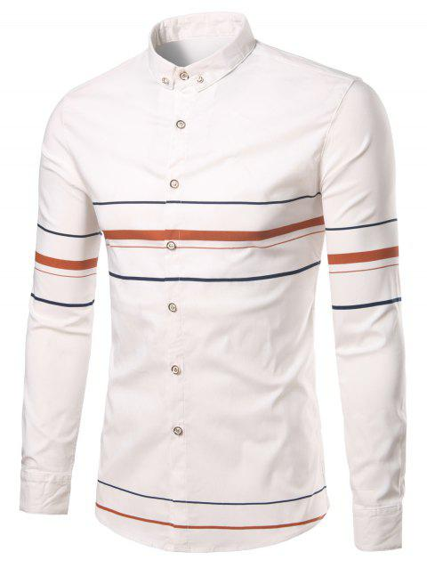 Rhinestone Turn-Down Collar Geometric Stripe Shirt - ORANGE 3XL