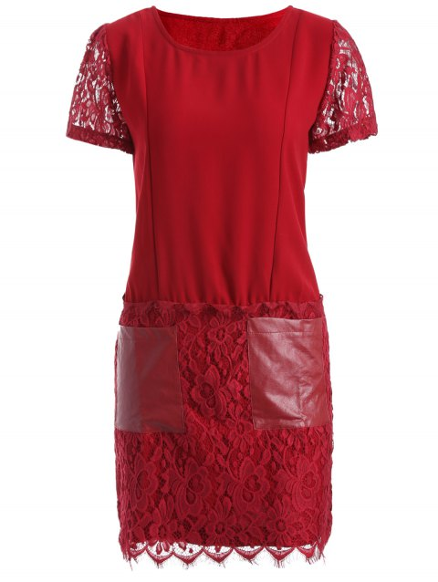 Pocket Lace Splicing Faux Leather Panel Dress - RED XL