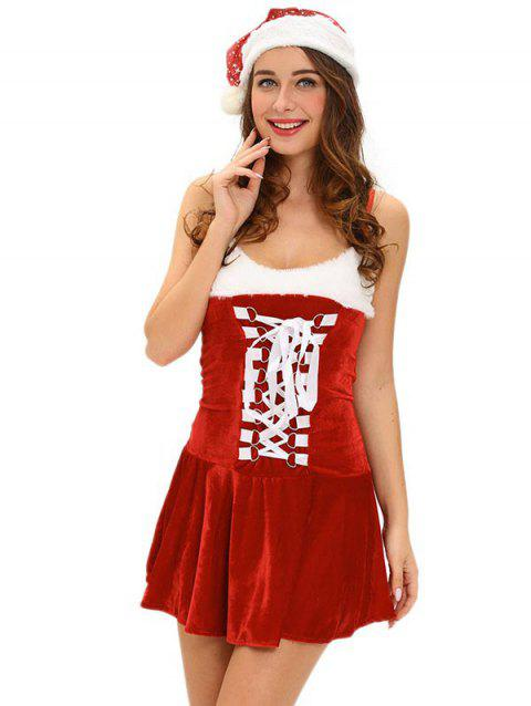 Christmas Cosplay Costume Lace Up Velvet Cami Dress - RED ONE SIZE