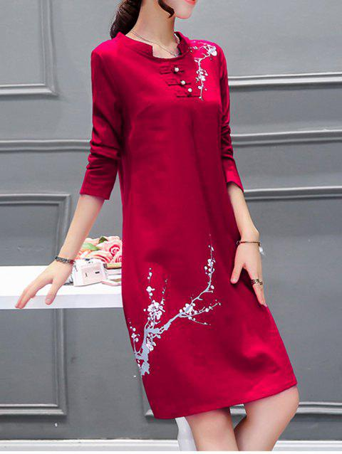 Peinture chinoise perlée Robe - Rouge XL