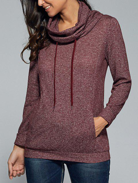 Cowl Neck Heather Drawstring Sweatshirt - BRICK RED L