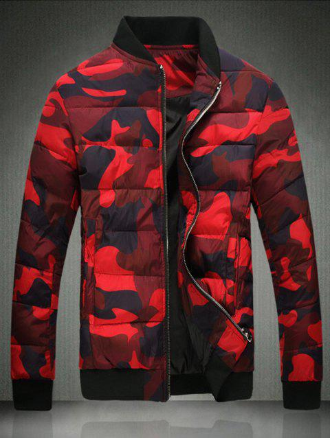 Plus Size Camouflage Stand Collar Zip-Up Cotton-Padded Jacket - RED L