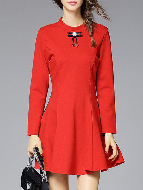 Bowknot Embellished A-Line Robe - Rouge XL