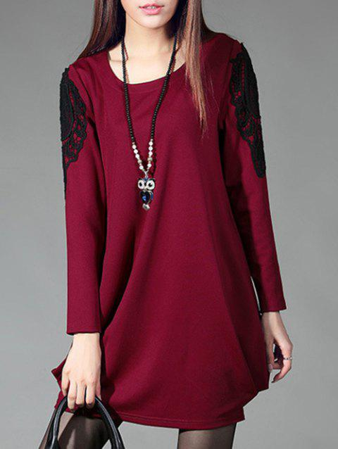 Ruched Crochet Lace Insert Dress - WINE RED L