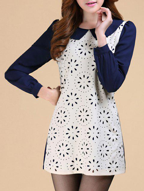 Peter Pan Collar Contrast Openwork Dress - OFF WHITE 2XL