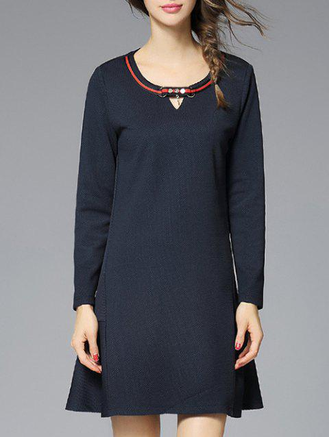 Keyhole Metal Embellished Textured Dress - PURPLISH BLUE 3XL