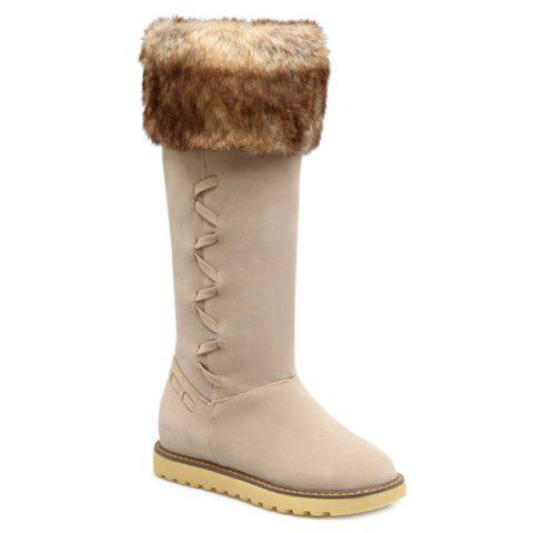 Suede Faux Fur Mid Calf Snow Boots - OFF WHITE 39