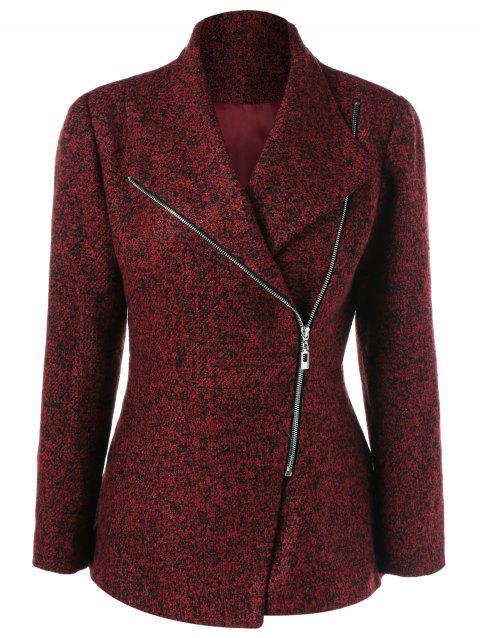 Inclined Zipper Marled Jacket - DARK RED L