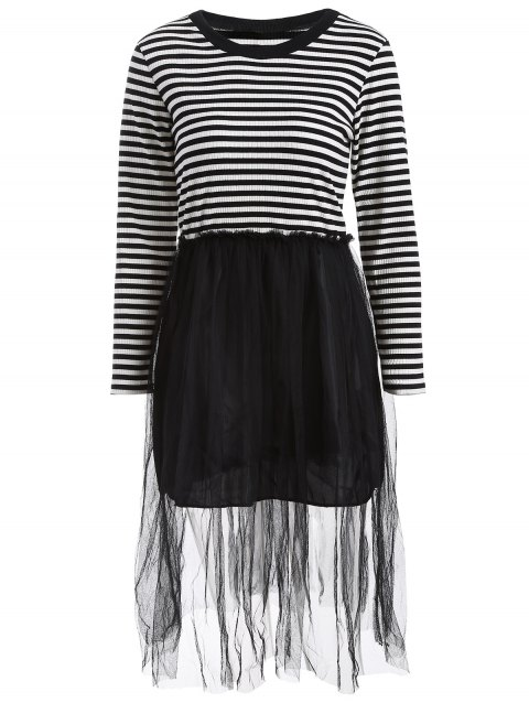 Mesh Spliced Striped Faux Twinset Sweater Dress - BLACK L