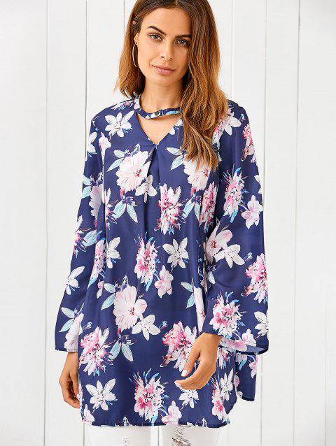 V Neck Long Sleeve Floral Print Loose Dress - BLUE S