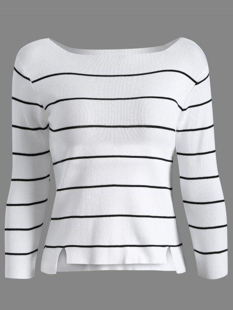 Long Sleeve Stripe Tricots - Blanc ONE SIZE