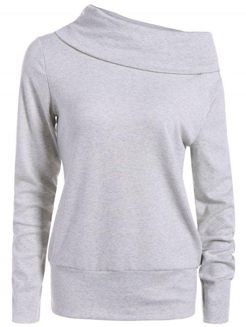 High Neck Long Sleeve Sweatshirt - LIGHT GRAY L