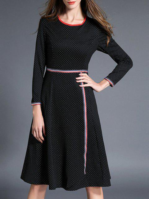 Long Sleeve Polka Dot Fit and Flare Dress - BLACK L