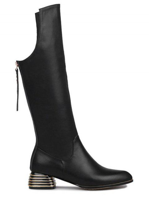 Chunky Heel Back Zip Cut Out Leather Boots - BLACK 37