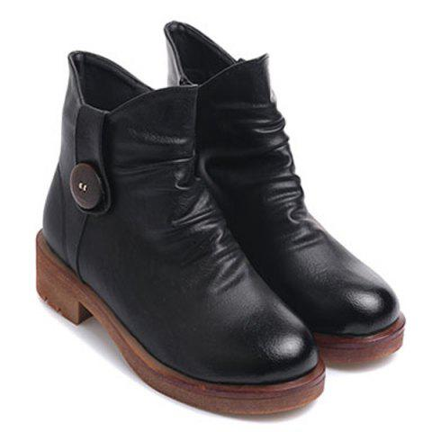 Zip Chunky Heel Button Ankle Boots - BLACK 38