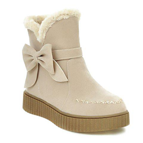 Stitching Suede Bowknot Snow Boots - OFF WHITE 39