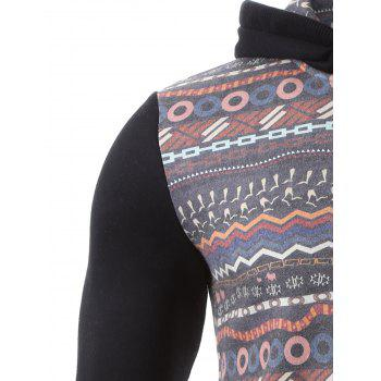 Hooded Colorful Geometric Print Zip-Up Hoodie - BLACK XL
