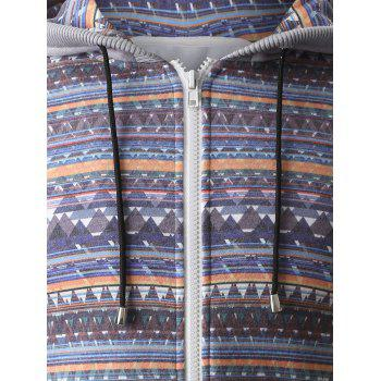 Hooded Colorful Geometric Print Zip-Up Hoodie - GRAY XL
