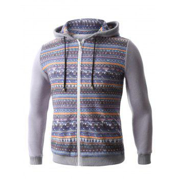 Hooded Colorful Geometric Print Zip-Up Hoodie