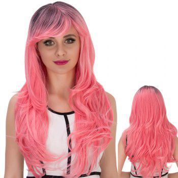 Pink Gradient Long Side Bang Wavy Cosplay Synthetic Wig