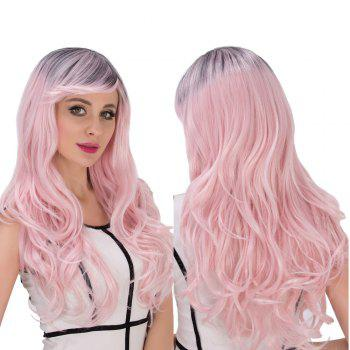 Water Pink Gradient Long Side Bang Wavy Cosplay Synthetic Wig