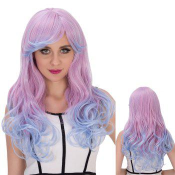 Double Color Long Oblique Bang Wavy Cosplay Synthetic Wig