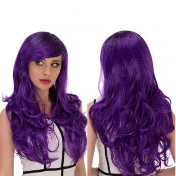 Cosplay Synthetic Long Purple Gradient Side Bang Wavy Wig