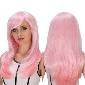 Pink Gradient Long Side Bang Layered Tail Adduction Cosplay Synthetic Wig