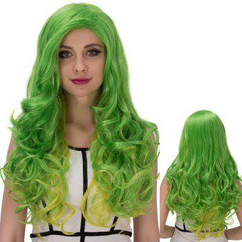 Gold Green Long Wavy Side Parting Cosplay Synthetic Wig