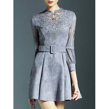Tulle Spliced Openwork Embroidered Flare Dress