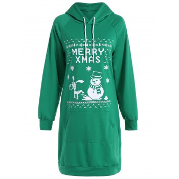 Christmas  Letter Pocket Hoodie Dress