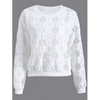 Flocked Mesh Pullover Sweatshirt