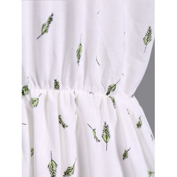 Refreshing V-Neck Short Sleeve Leaf Print Plus Size Women's Blouse - WHITE WHITE