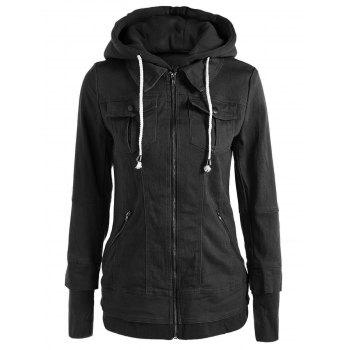Trendy Hooded Long Sleeve Pocket Design Faux Twinset Women's Jacket