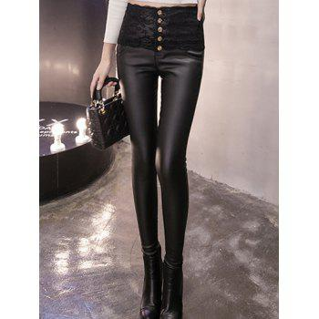 Buttoned Lace Panel High Waisted Skinny Pants