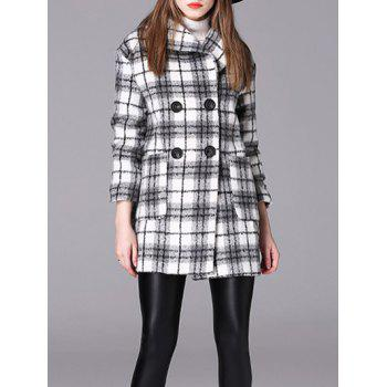 Checked Double-Breasted Woolen Coat