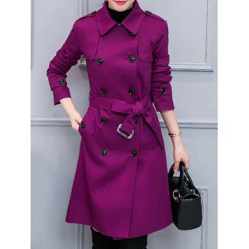Double-Breasted Belted Trench Coat with Pocket