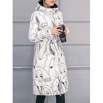Hooded Abstract Print Puffer Coat