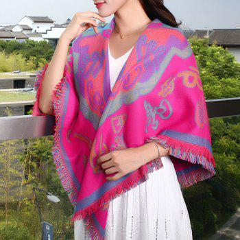 Winter Maya Totem Pattern Colorful Fringed Big Square Pashmina